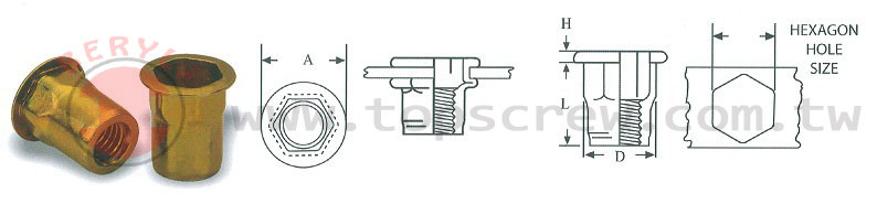 half-hexagon rivet nut ,hbm,hbi,rivet nut,nut,top screw,,blind rivet nut ,fasteners,metal forging,rivet nut manufactory,manufacture