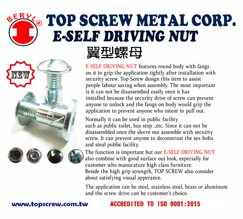 e self-driving nut,sex bolts,sleeve nut,security fastener,top screw